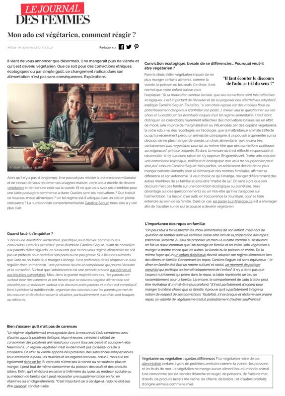 Le Journal des Femmes du 22 janvier 2018